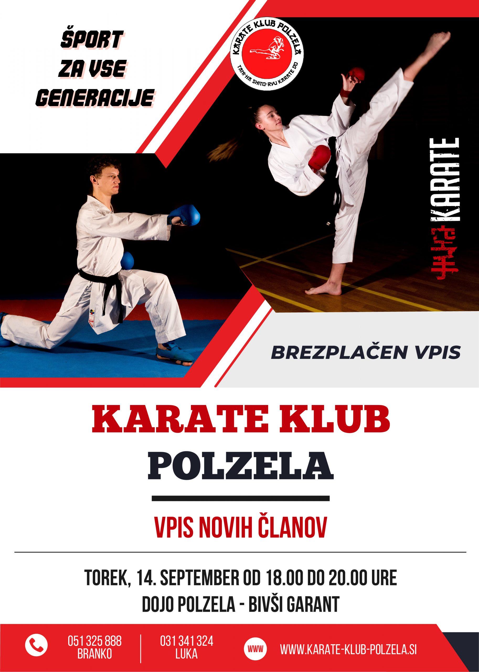Vpis v šolo karateja